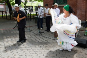 A celebration of Puerto Rican heritage with music and dance, featuring Plena Dura y Bomba Group and Jose & Nydia Ocasio, at Tappen Park in Staten Island, NY.